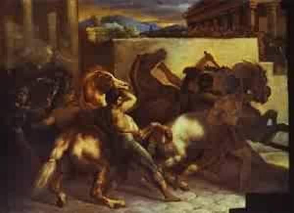 Race of wild horses in rome 1817 louvre paris france